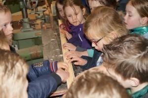 Kinderen bekijken houtprofiel